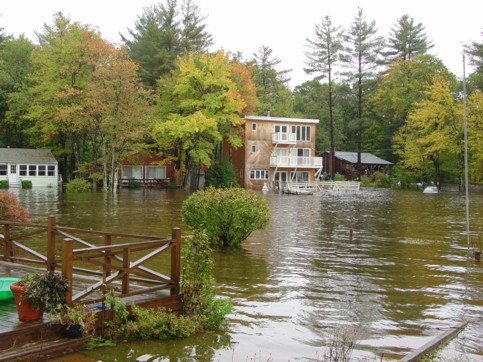 Flooded houses at the Connecticut end of the lake