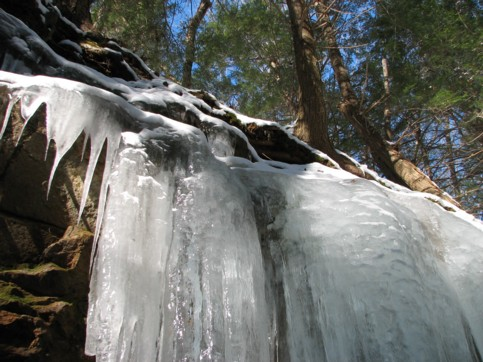 Icicles cascading down into the mine cut like a waterfall.