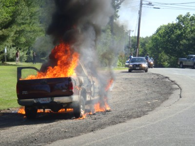 Ford-pickup-truck-on-fire