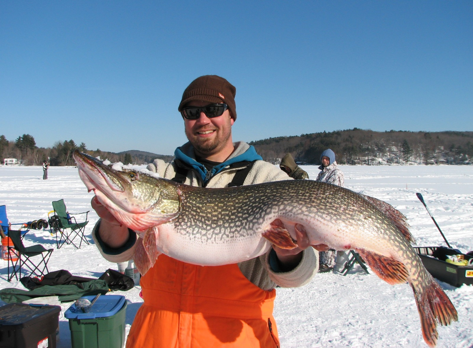 Michael olbrich proudly showing his prize winner a 43 3 4 for Northern pike fishing